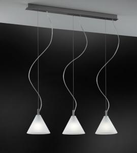 Lampadario 3 luci MODI' LED vetro satinato | E14