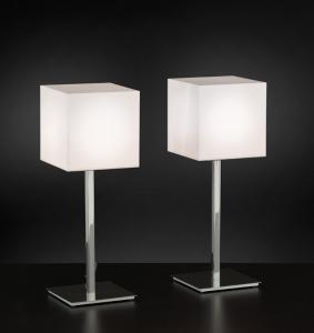 ENIGMA lampada da tavolo cromo o grigia | LED