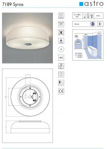 Plafoniera da bagno ip44 in vetro opalino syros citylux - Plafoniera da bagno ...