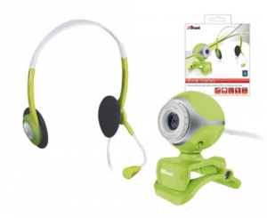 Trust Exis Chat pack Webcam Cuffie Green Microfono Verde Skype Videoconferenza Giochi