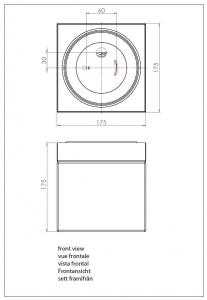 Plafoniera da bagno ip44 con vetro bianco sabina square - Plafoniera da bagno ...