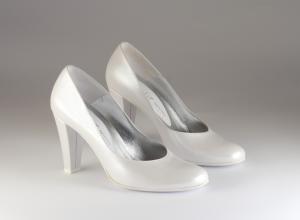 Scarpa donna elegante da sposa e cerimonia  in pelle bianco Elata cod.S2910/M