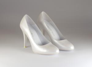 Scarpa donna elegante da sposa e cerimonia in pelle bianco  Elata cod.Marilyn