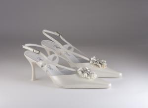Scarpa donna elegante da sposa e cerimonia Francesco in pelle con applicazione cristalli e raso Francesco Art.5896/719