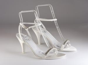 Scarpa donna elegante da sposa e cerimonia in tessuto con applicazione cristalli Francesco cod.Ginevra