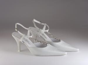 Scarpa donna elegante da sposa e cerimonia in colore celestino tessuto taffetà con cinghietta regolabile e applicazione di cristalli  Francesco cod.5858/719