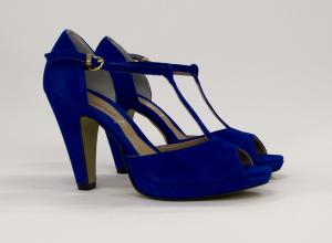 Sandalo donna cerimonia elegante in pelle scamosciata bluette con cinghietta regolabile Bressan Art.6092