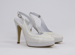 Sandalo donna elegante da sposa e cerimonia in pelle capretto bianco naturale con cinghietta regolabile Elata cod.S2311