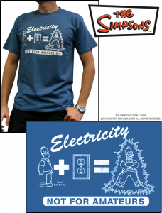 Simpsons Homer Maglia Electricity Not for Amateurs T-Shirt manica corta cotone