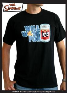 Simpsons Maglia Will Work for Duff T-Shirt manica corta nuova cotone