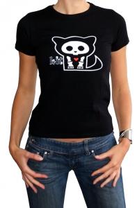 Skelanimals Kit Gatto T-Shirt donna Maglia manica corta cotone Originale