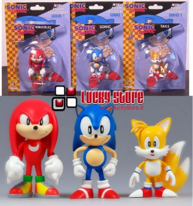 Sonic set 3 mini figure 8 cm blister the Hedgehog Knuckles Tails nuove
