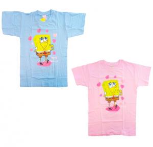 Spongebob T-Shirt Maglia Bambino Bambina Cotone Cuori da 6 a 12 anni