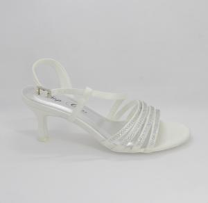 Sandalo cerimonia donna e sposa in tessuto con applicazione cristalli e cinghietta regolabile Art. H14027SARASF0200S062161