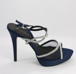 Sandalo donna elegante in tessuto e cristalli con pochette abbinata Art. BS252