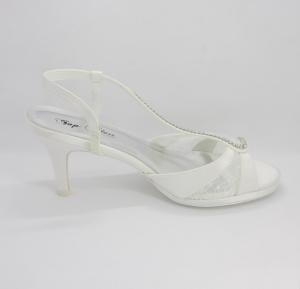Sandalo donna cerimonia elegante da sposa in tessuto di raso e pizzo con applicazioni di cristalli con cinghietta Art. H15028SARASF0200P072161