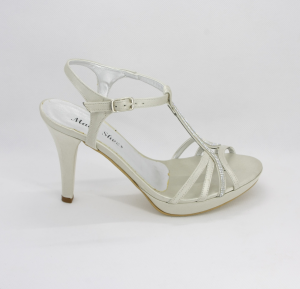 Sandalo donna in tessuto di raso con cristalli e cinghietta regolabile Art. 1018
