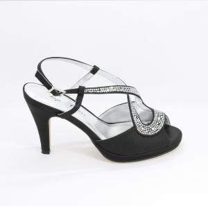 Sandalo cerimonia donna elegante in tessuto di raso con applicazione in cristallo e cinghietta regolabile Art. H15521 SARASF 1400P82161