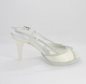 Sandalo donna e sposa  in tessuto di raso con inserti tessuto glitter argento con cinghietta regolabile Art.MONICA