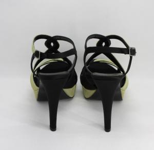 Sandalo elegante donna bicolore nero/oro brillante con cinghetta regolabile Art. ALESSANRA