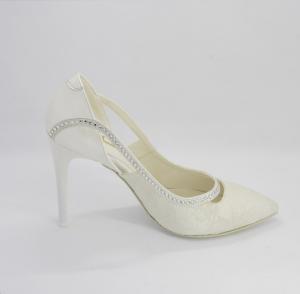 Scarpa donna elegante sposa in tessuto, pizzo e applicazioni in cristallo Art. 283S