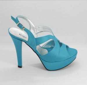 Sandalo donna elegante in tesuto con comodo plateau e cinghietta regolabile Art. 1023