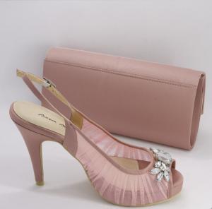 Sandalo elegante cerimonia donna in tessuto e cristalli con cinghietta regolabile  e pochette abbinata Art. BS305