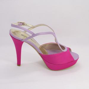 Sandalo cerimonia donna bicolore in tessuto con cinghietta regolabile fuxia/lilla  con cinghietta regolabile Art. 1074