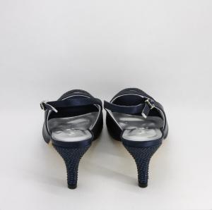 Sandalo elegante cerimonia donna in tessuto blu con abblicazione cristalli e cinghietta regolabile Art.H16615SARASF0943P08