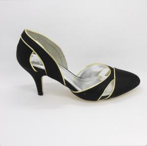 Scarpa elegante cerimonia donna in tessuto nero con inserti ecopelle oro Art. H16619PURa1F1404S07