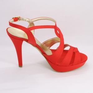 Sandalo cerimonia donna elegante in tessuto di raso rosso e cinghietta regolabile Art. ALESSANDRA