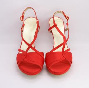 Sandalo cerimonia donna elegante in tessuto di raso rosso e cinghietta regolabile Art. ALESSIA