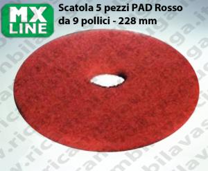 PAD MAXICLEAN 5 PEZZI color Rosso da 9 pollici - 228 mm | MX LINE
