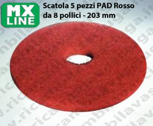 Dischi Pad 8 - 203 mm MX LINE Rosso, Made in EU per lavapavimenti e monospazzole