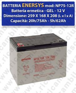 NP75-12R Batteria  GEL  - ENERSYS - 12V 75Ah 20/h