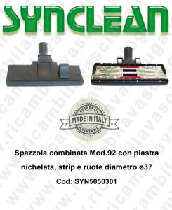 Spazzola combinata Mod.92 con piastra nichelata, strip e ruote diametro ø37 - SYNCLEAN COD: SYN5050301