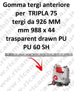 Gomma tergipavimento anteriore per lavapavimenti COMAC - TRIPLA 75 B