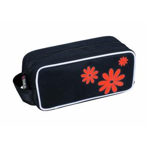 H.DUE.O - Hippy Flowers - Trousse da donna nero con fiori rossi cod. TBH-04