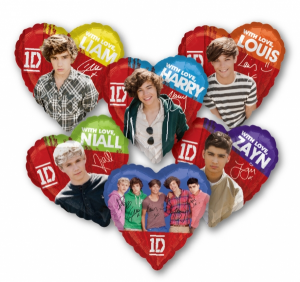 One Direction palloncini sagomati cuore elio Zayn Harry Louis Niall Liam festa party