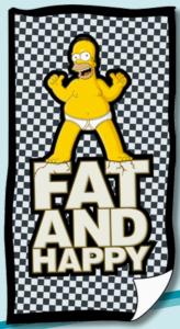 Simpson Homer Fat & Happy scacchi Telo Mare asciugamano