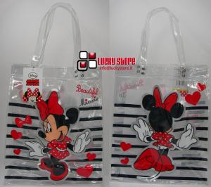 Disney Minnie Shopper PVC trasparente cuori righe
