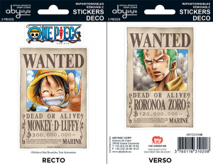 One Piece wanted Luffy Zoro mini stickers 16 x 11 cm
