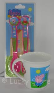 Peppa Pig set posate melamina tazza per microonde