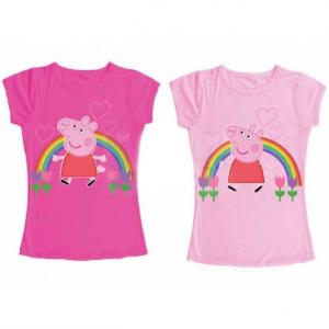 Peppa Pig arcobaleno T-Shirt maglia bambina manica corta nuova cotone
