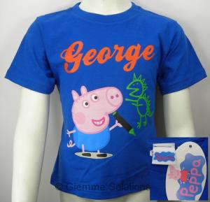Peppa Pig George T-Shirt maglia bambino blu manica corta nuova cotone