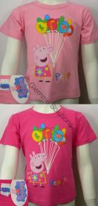Peppa Pig palloncini T-Shirt maglia bambina manica corta nuova cotone