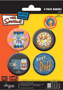 Simpson set 4 spille badge Duff