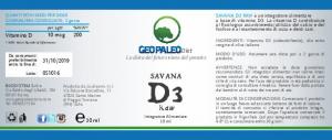 Savana D3 Raw - VITAMINA D - 240.000 UI a flacone in Olio Extravergine di Oliva BIO