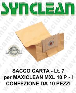 SACCO CARTA litri 7 per MAXICLEAN mod. MXL 10 P - confezione 10 pezzi