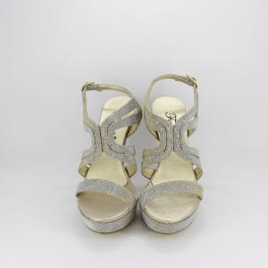 Sandalo donna elegante da cerimonia in tessuto glitter platino con cinghietta regolabile  Art. A554 Gi.Effe Ci.
